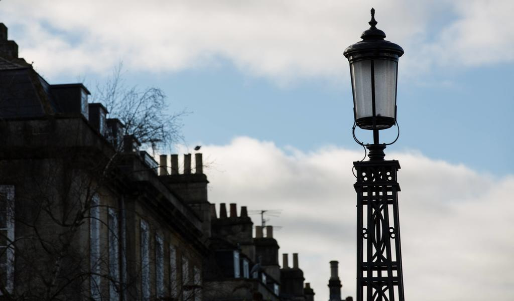 Image: North Parade Bridge in Bath, showing restored lamps