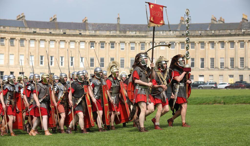 Roman soldiers marching in front of Royal Crescent on World Heritage Day