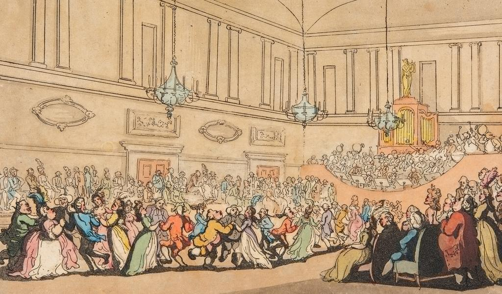 Image of a caricature by Thomas Rowlandson of a ball at the Assembly Rooms