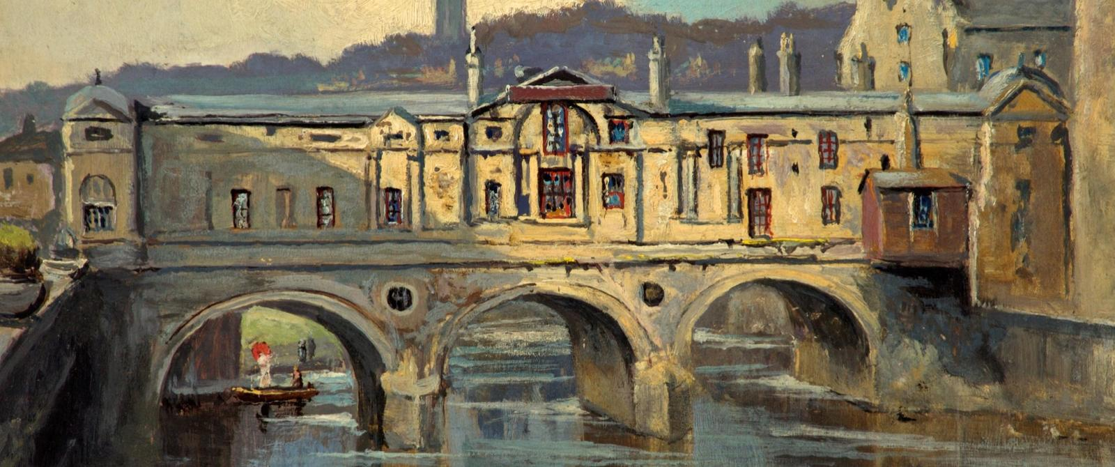 Image of painting of Pulteney Bridge by John Fulleylove, Victoria Art Gallery