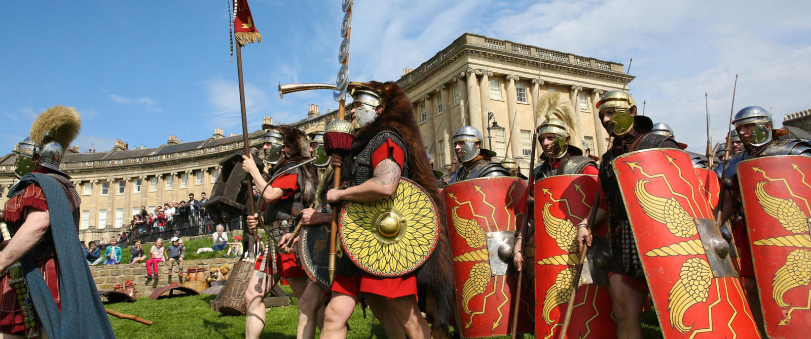 Image of Roman soldiers marching outside the Royal Crescent