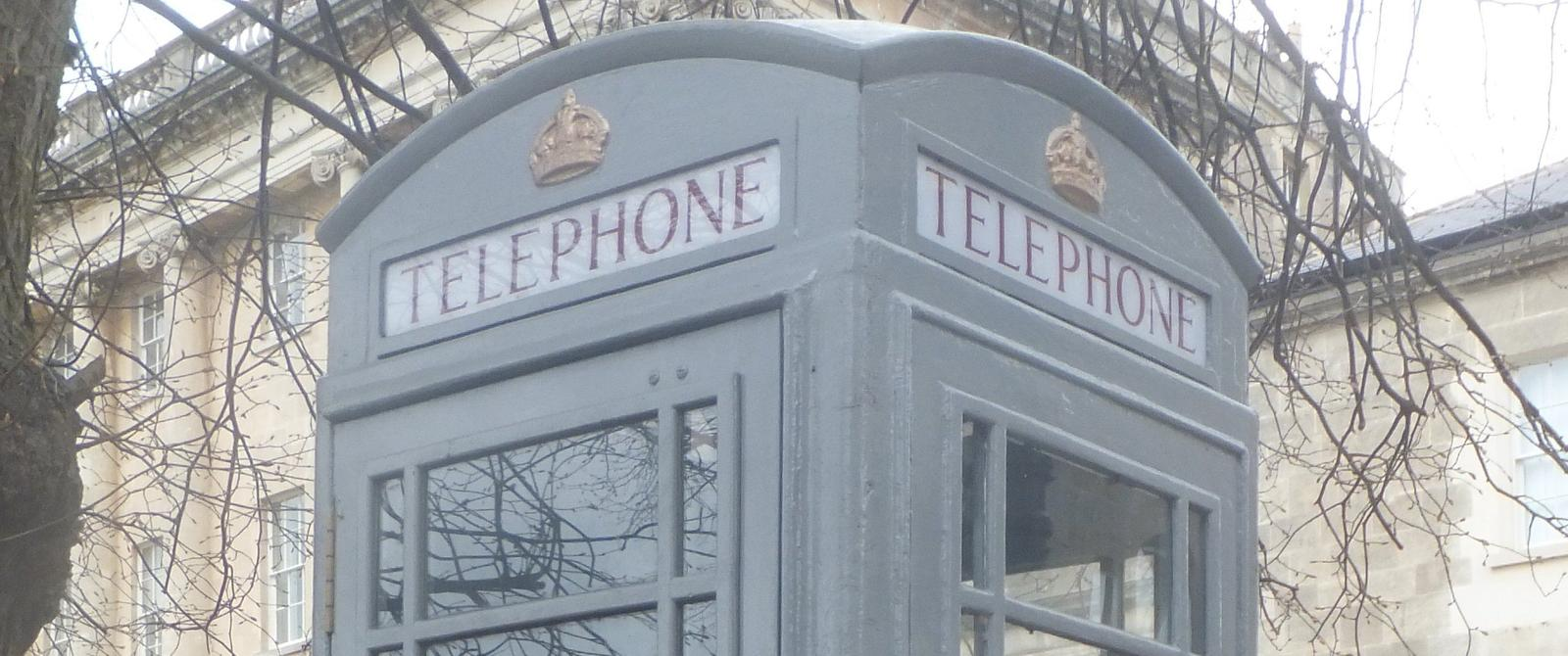 Image: view of grey telephone box near Royal Crescent